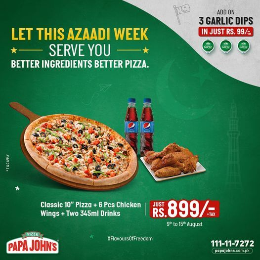 Papa John's Pizza - Azadi Week Deal